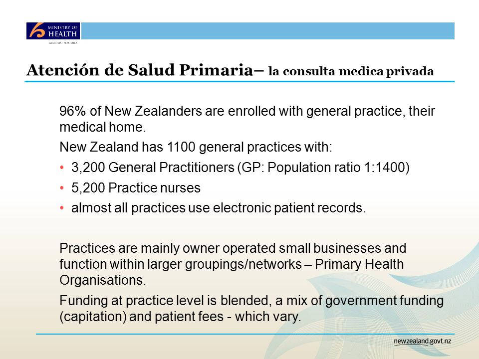Atención de Salud Primaria– la consulta medica privada 96% of New Zealanders are enrolled with general practice, their medical home.