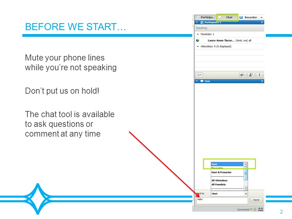 2 BEFORE WE START… Mute your phone lines while you're not speaking Don't put us on hold! The chat tool is available to ask questions or comment at any
