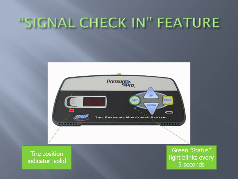 Tire position indicator solid Green Status light blinks every 5 seconds