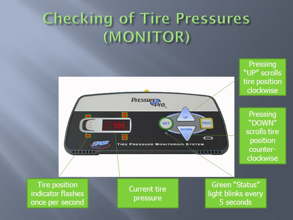 Green Status light blinks every 5 seconds Current tire pressure 101 Tire position indicator flashes once per second Pressing UP scrolls tire position clockwise Pressing DOWN scrolls tire position counter- clockwise