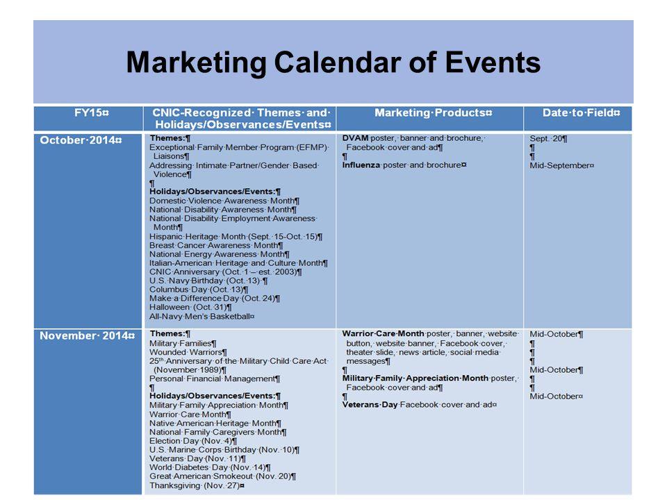 Marketing Calendar of Events
