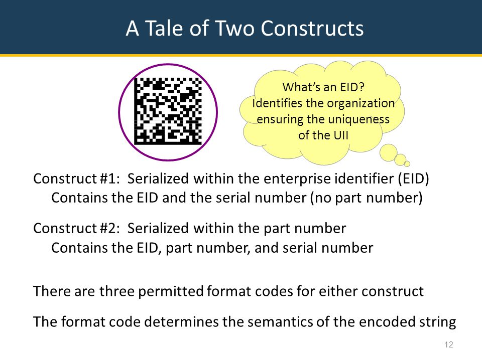 A Tale of Two Constructs 12 Construct #1: Serialized within the enterprise identifier (EID) Contains the EID and the serial number (no part number) Construct #2: Serialized within the part number Contains the EID, part number, and serial number What's an EID.