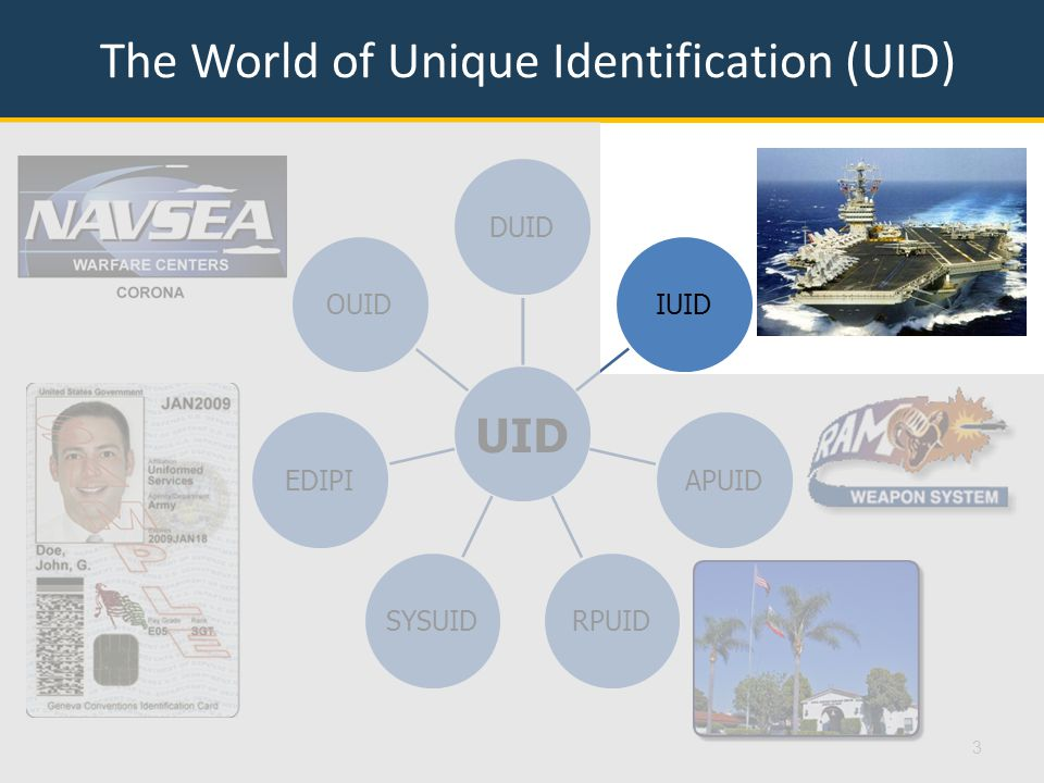 IUID Data Constraints  Must be encoded into an ECC200 Data Matrix barcode  Must include syntax from ISO/IEC 15434  Must include appropriate semantics  Must adhere to data element length requirements  Must use only A through Z, 0 through 9, /, and – No lower case letters, periods, asterisks, commas, …  UII ≤ 50 characters  UII must be unique across the globe  UII must be permanent … forever 14