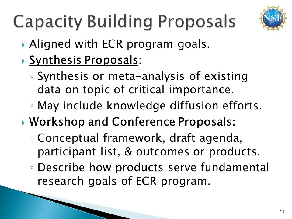  Aligned with ECR program goals.