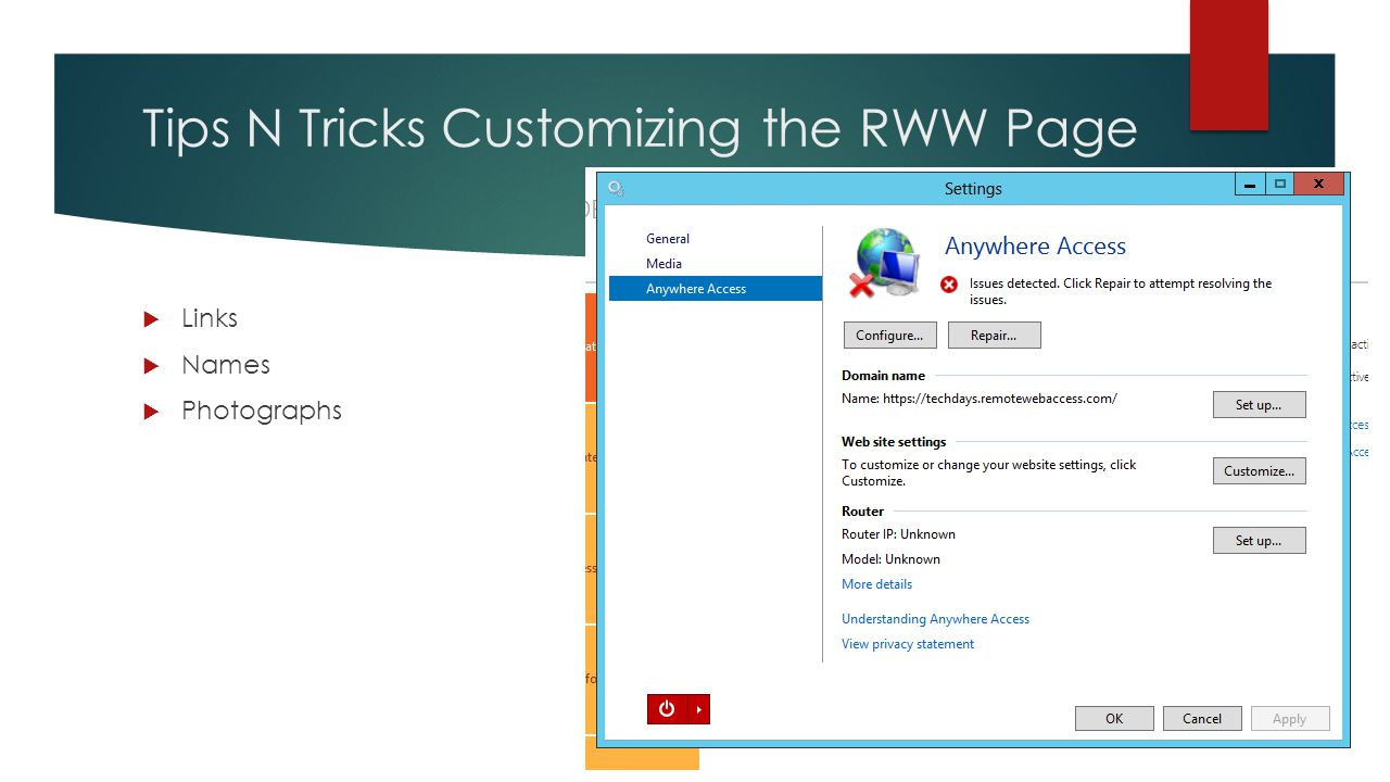 Tips N Tricks Customizing the RWW Page  Links  Names  Photographs