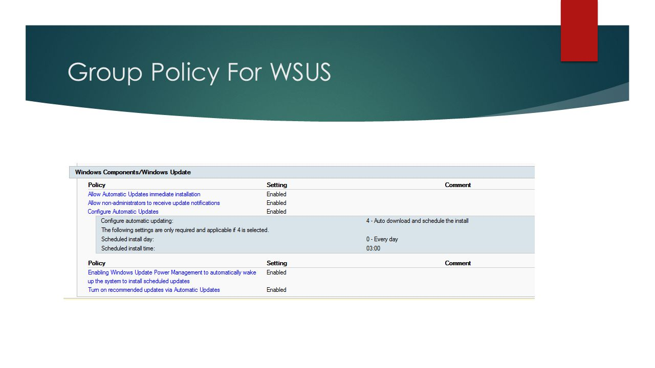 Group Policy For WSUS