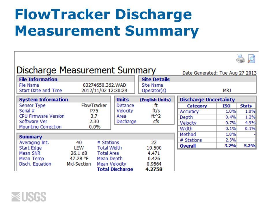 FlowTracker Discharge Measurement Summary
