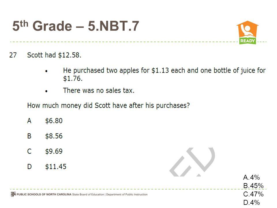 5 th Grade – 5.NBT.7 OOOOOO A.4% B.45% C.47% D.4%