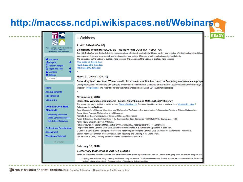 http://maccss.ncdpi.wikispaces.net/Webinars