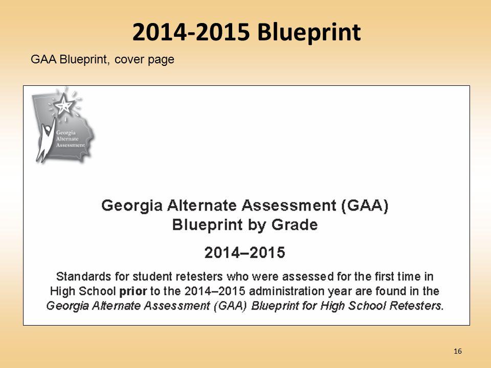 16 2014-2015 Blueprint GAA Blueprint, cover page