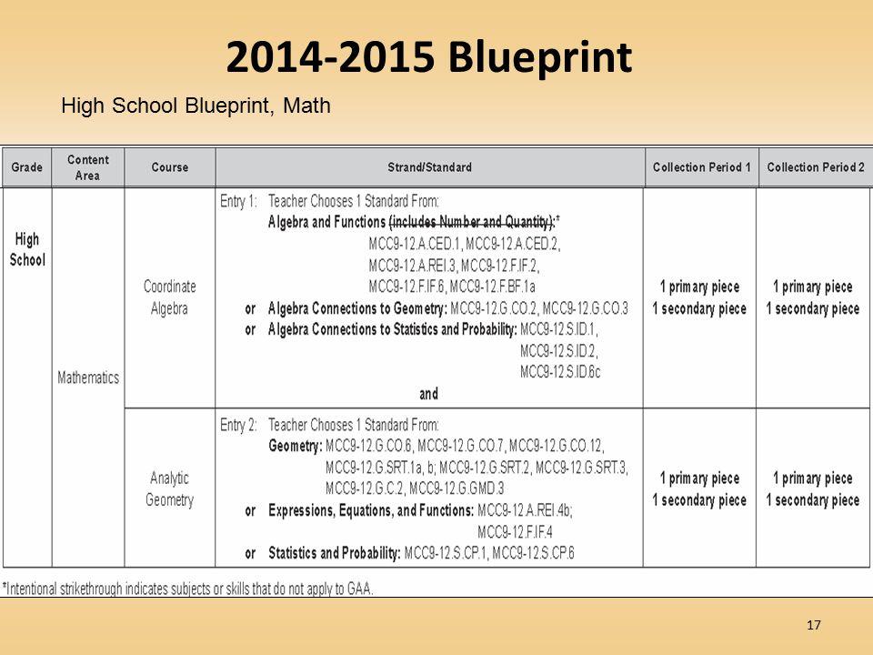 17 2014-2015 Blueprint High School Blueprint, Math