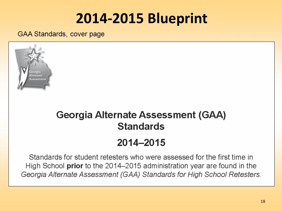 18 2014-2015 Blueprint GAA Standards, cover page
