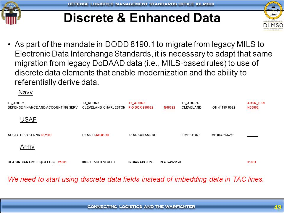 49 CONNECTING LOGISTICS AND THE WARFIGHTER DEFENSE LOGISTICS MANAGEMENT STANDARDS OFFICE (DLMSO) 49 As part of the mandate in DODD 8190.1 to migrate f