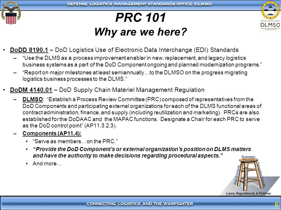 6 CONNECTING LOGISTICS AND THE WARFIGHTER DEFENSE LOGISTICS MANAGEMENT STANDARDS OFFICE (DLMSO) 6 PRC 101 Why are we here? DoDD 8190.1 – DoD Logistics