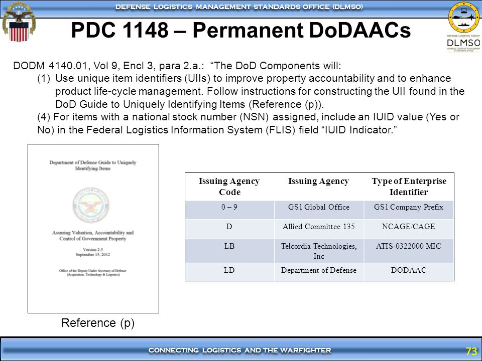 73 CONNECTING LOGISTICS AND THE WARFIGHTER DEFENSE LOGISTICS MANAGEMENT STANDARDS OFFICE (DLMSO) 73 PDC 1148 – Permanent DoDAACs DODM 4140.01, Vol 9,