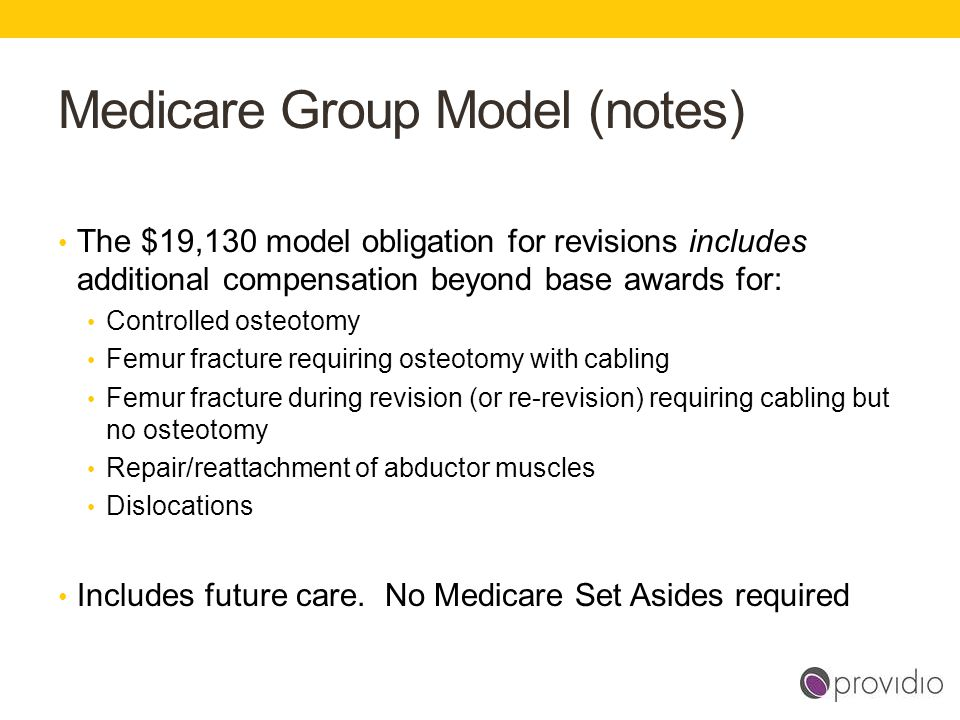 Medicare Group Model (notes) The $19,130 model obligation for revisions includes additional compensation beyond base awards for: Controlled osteotomy