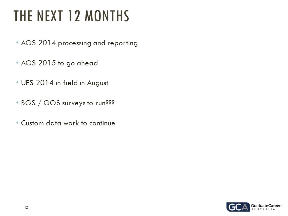 13 AGS 2014 processing and reporting AGS 2015 to go ahead UES 2014 in field in August BGS / GOS surveys to run .