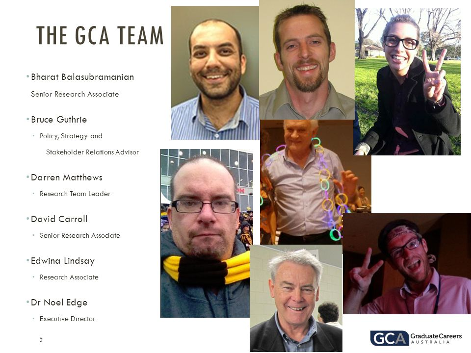 5 Bharat Balasubramanian  Senior Research Associate Bruce Guthrie  Policy, Strategy and Stakeholder Relations Advisor Darren Matthews  Research Team Leader David Carroll  Senior Research Associate Edwina Lindsay  Research Associate Dr Noel Edge  Executive Director THE GCA TEAM