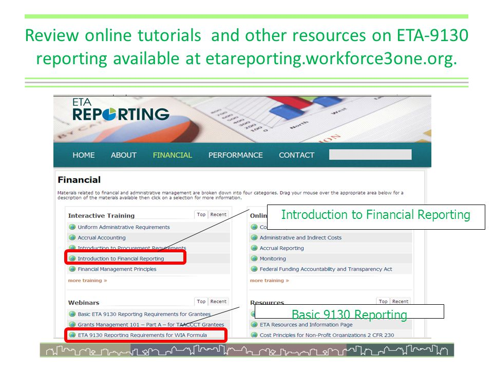 Review online tutorials and other resources on ETA-9130 reporting available at etareporting.workforce3one.org.