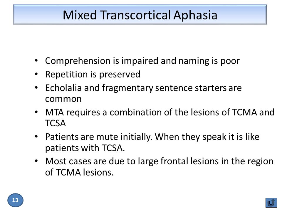 Mixed Transcortical Aphasia 13 Comprehension is impaired and naming is poor Repetition is preserved Echolalia and fragmentary sentence starters are co