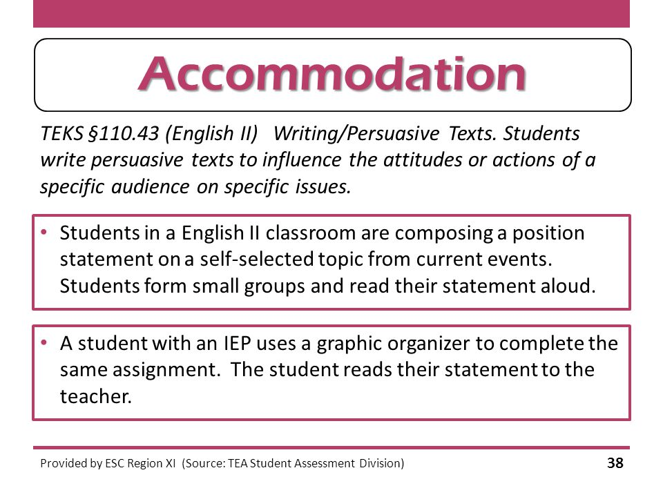 Modification or Accommodation. TEKS §110.43 (English II) Writing/Persuasive Texts.