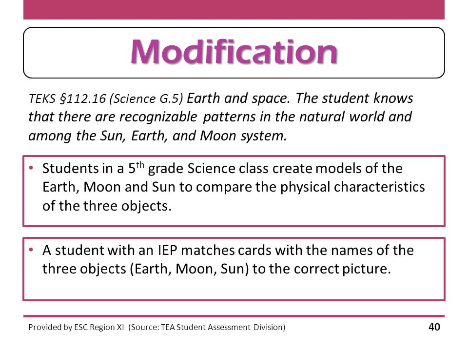 Modification or Accommodation. TEKS §112.16 (Science G.5) Earth and space.