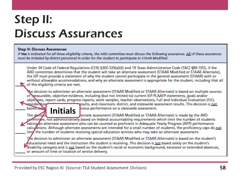 Step II: Discuss Assurances Provided by ESC Region XI (Source: TEA Student Assessment Division) 58 Initials