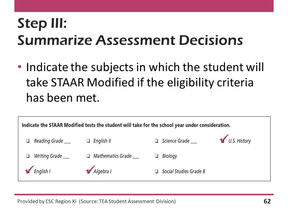 Step III: Summarize Assessment Decisions Indicate the subjects in which the student will take STAAR Modified if the eligibility criteria has been met.