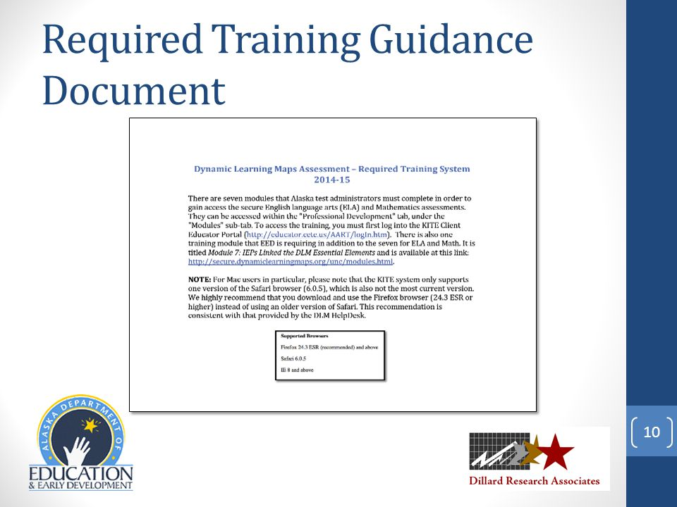 Required Training Guidance Document 10