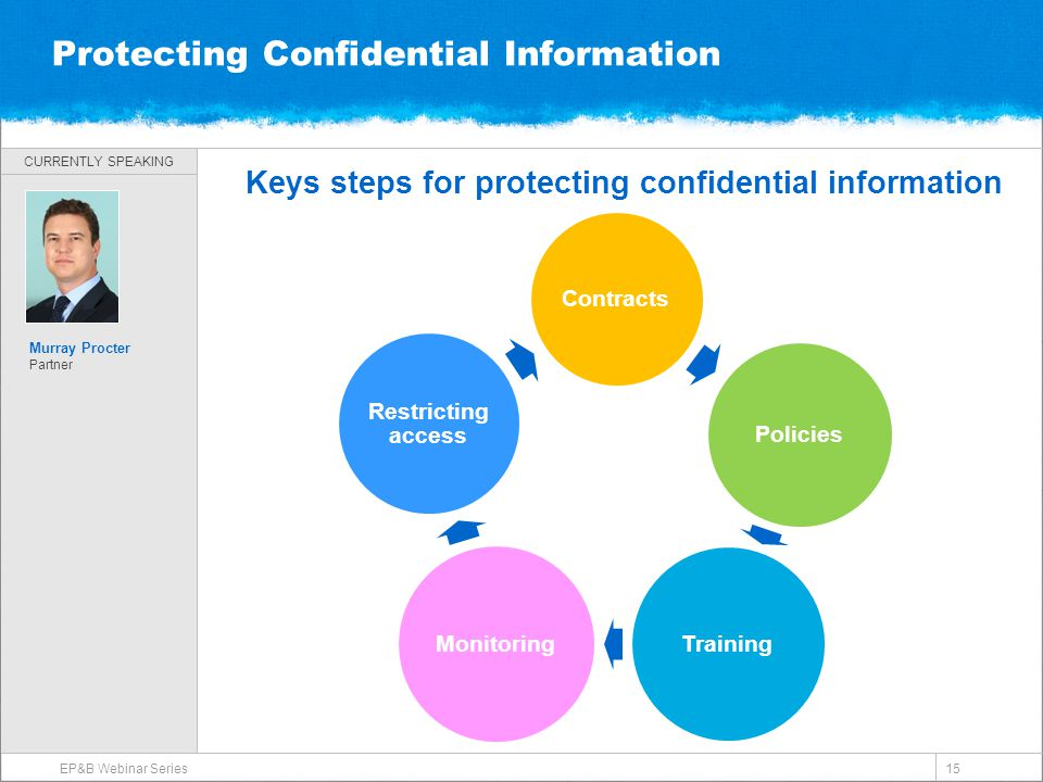 CURRENTLY SPEAKING Protecting Confidential Information Keys steps for protecting confidential information EP&B Webinar Series 15 Murray Procter Partne