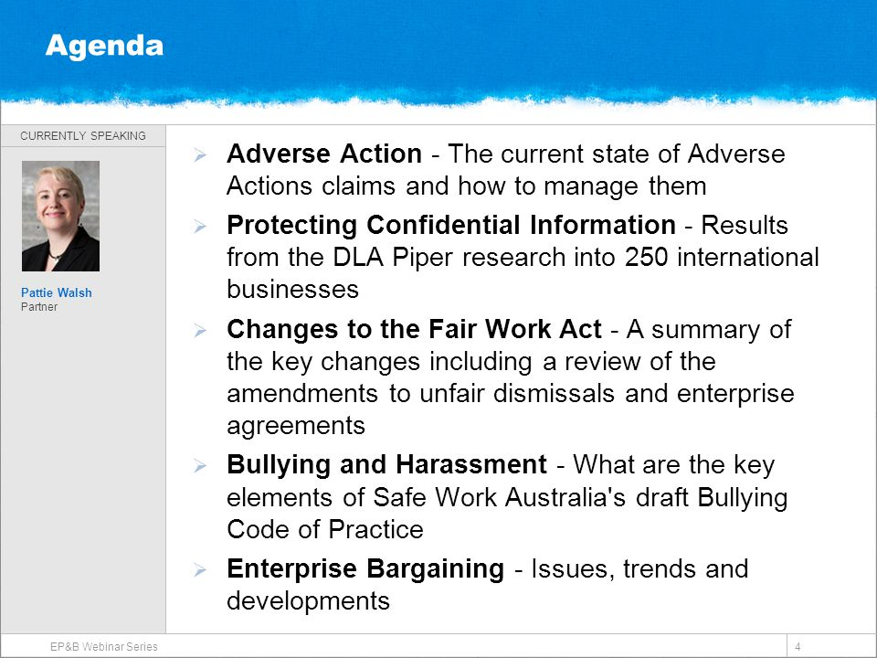 CURRENTLY SPEAKING 4 Agenda  Adverse Action - The current state of Adverse Actions claims and how to manage them  Protecting Confidential Informatio