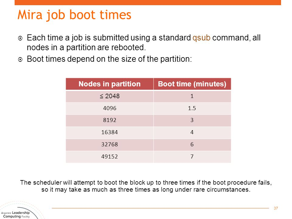 Mira job boot times 37 The scheduler will attempt to boot the block up to three times if the boot procedure fails, so it may take as much as three tim