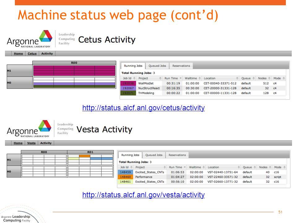 Machine status web page (cont'd) 51 http://status.alcf.anl.gov/cetus/activity http://status.alcf.anl.gov/vesta/activity