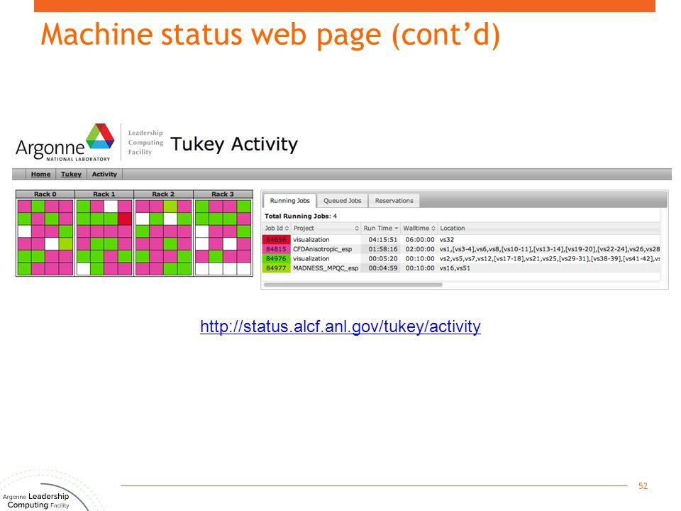 Machine status web page (cont'd) 52 http://status.alcf.anl.gov/tukey/activity