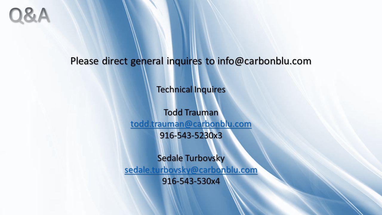 Technical Inquires Todd Trauman todd.trauman@carbonblu.com 916-543-5230x3 Sedale Turbovsky sedale.turbovsky@carbonblu.com 916-543-530x4 Please direct general inquires to info@carbonblu.com
