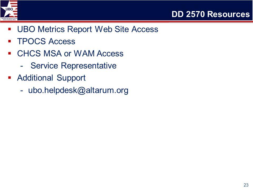 DD 2570 Resources  UBO Metrics Report Web Site Access  TPOCS Access  CHCS MSA or WAM Access - Service Representative  Additional Support -ubo.helpdesk@altarum.org 23