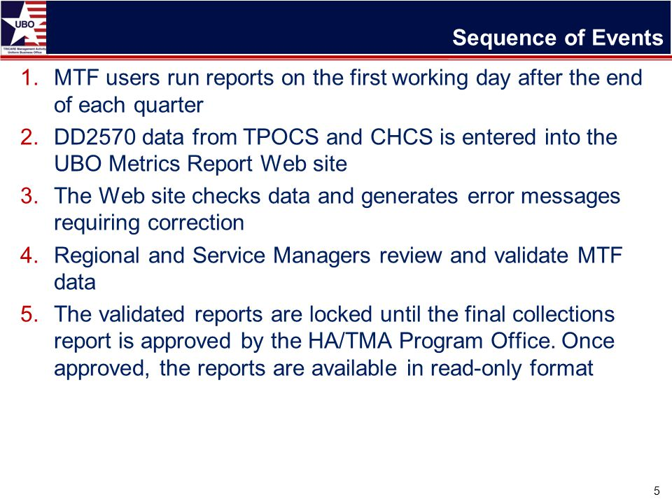 Sequence of Events 1.MTF users run reports on the first working day after the end of each quarter 2.DD2570 data from TPOCS and CHCS is entered into the UBO Metrics Report Web site 3.The Web site checks data and generates error messages requiring correction 4.Regional and Service Managers review and validate MTF data 5.The validated reports are locked until the final collections report is approved by the HA/TMA Program Office.