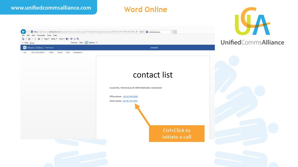 Ctrl+Click to initiate a call Word Online