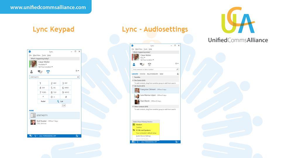 Lync KeypadLync - Audiosettings