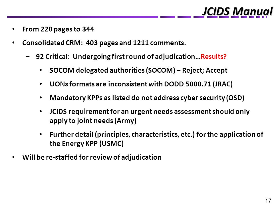 JCIDS Manual 17 From 220 pages to 344 Consolidated CRM: 403 pages and 1211 comments.