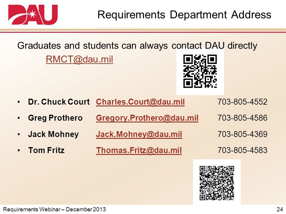 Requirements Webinar – December 2013 Requirements Department Address Graduates and students can always contact DAU directly RMCT@dau.mil Dr.