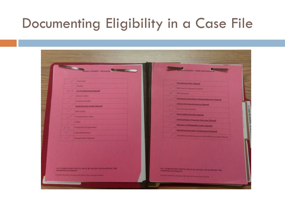 Documenting Eligibility in a Case File