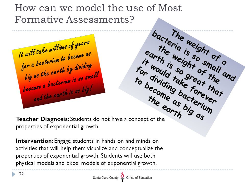 How can we model the use of Most Formative Assessments? It will take millions of years for a bacterium to become as big as the earth by dividing becau