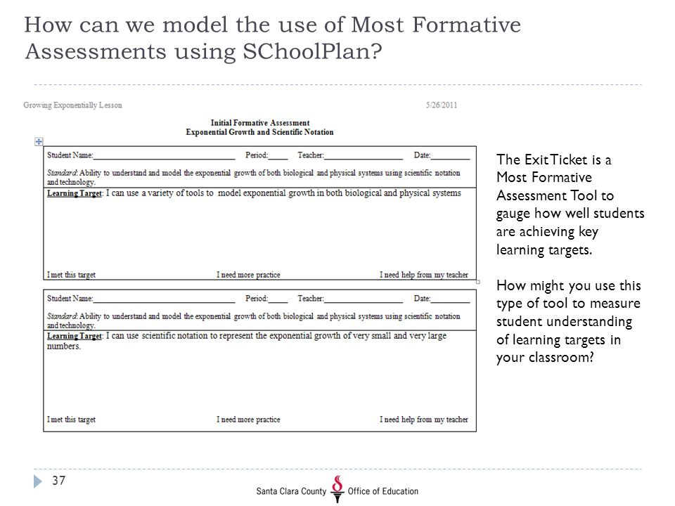 How can we model the use of Most Formative Assessments using SChoolPlan? The Exit Ticket is a Most Formative Assessment Tool to gauge how well student