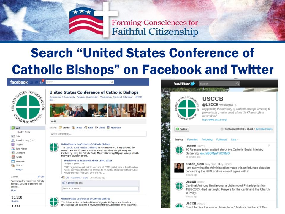 Search United States Conference of Catholic Bishops on Facebook and Twitter