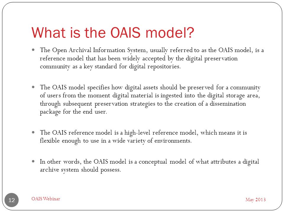 What is the OAIS model.