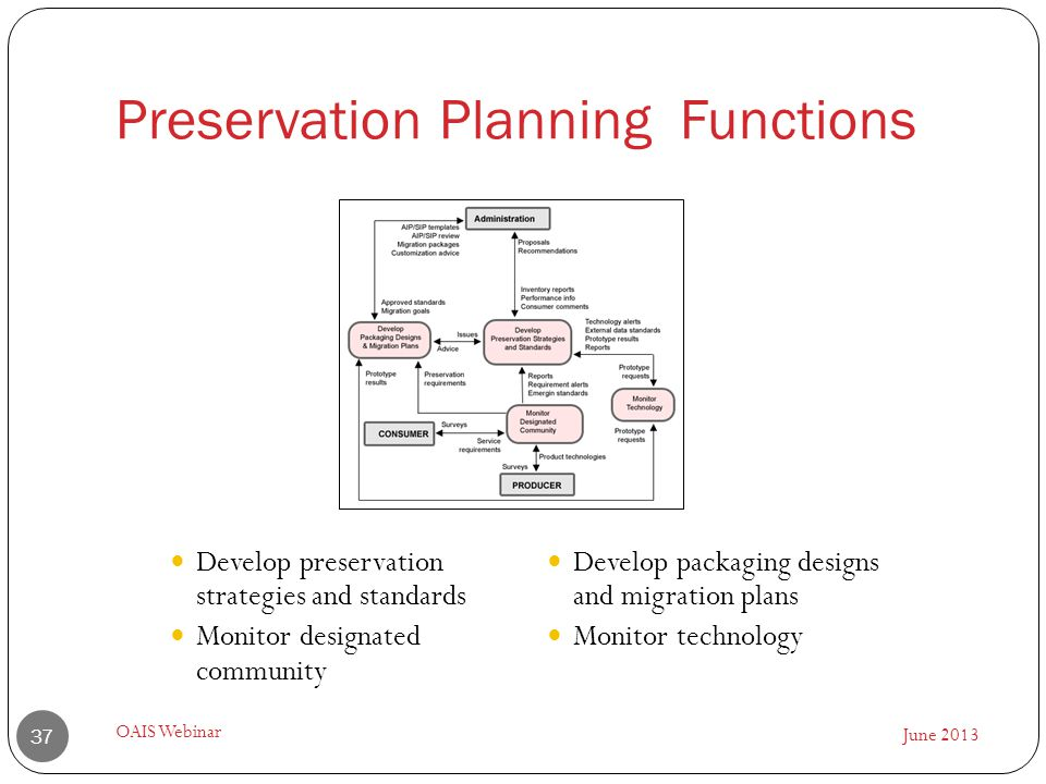 Preservation Planning Functions June 2013 OAIS Webinar 37 Develop preservation strategies and standards Monitor designated community Develop packaging designs and migration plans Monitor technology