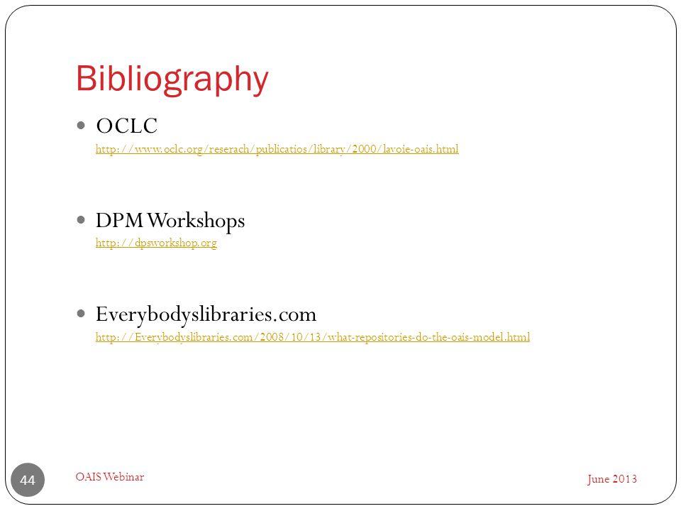 Bibliography June 2013 OAIS Webinar 44 OCLC http://www.oclc.org/reserach/publicatios/library/2000/lavoie-oais.html http://www.oclc.org/reserach/public