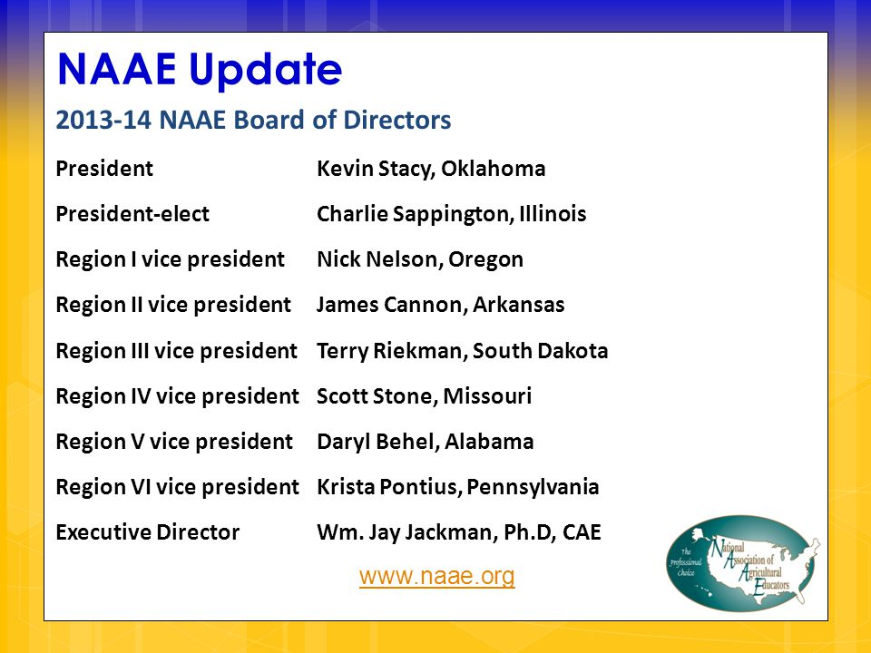 NAAE Update 2013-14 NAAE Board of Directors PresidentKevin Stacy, Oklahoma President-electCharlie Sappington, Illinois Region I vice presidentNick Nelson, Oregon Region II vice presidentJames Cannon, Arkansas Region III vice presidentTerry Riekman, South Dakota Region IV vice presidentScott Stone, Missouri Region V vice president Daryl Behel, Alabama Region VI vice president Krista Pontius, Pennsylvania Executive DirectorWm.