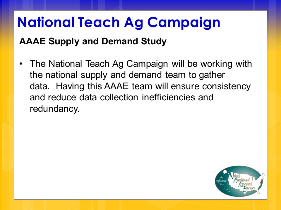 National Teach Ag Campaign AAAE Supply and Demand Study The National Teach Ag Campaign will be working with the national supply and demand team to gather data.